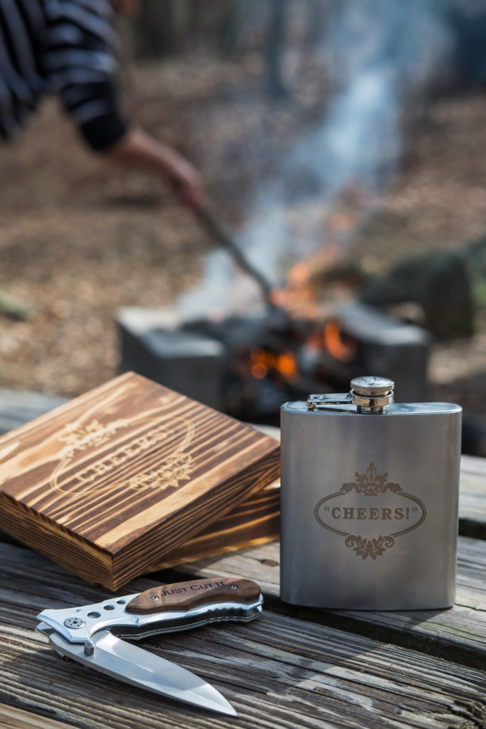 travel sized flask and knife