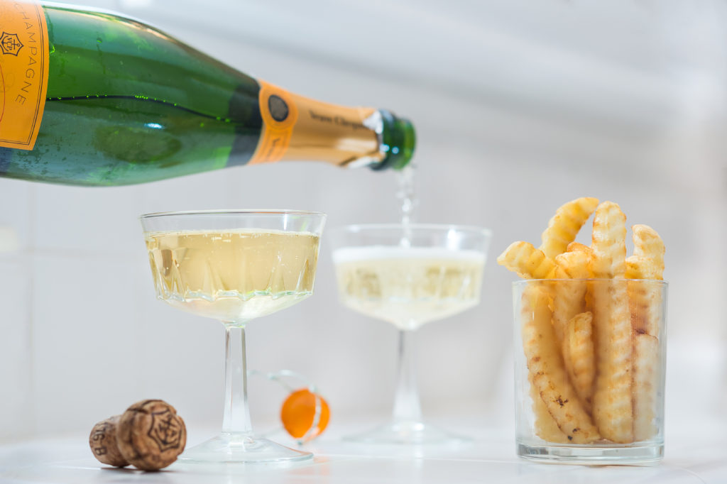 champagne and french fries in sacramento